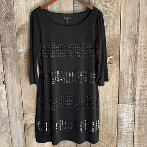 White House Black Market Dresses - White House Black Market 3/4 Sleeve Sequin Beaded